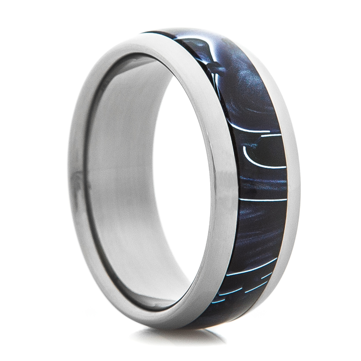 Titanium Ring with Black Shadow Inlay