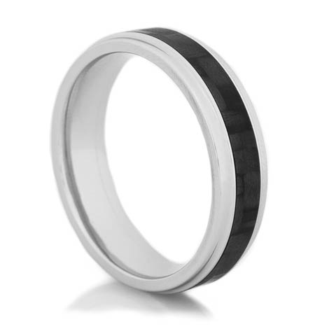 Men's Cobalt Chrome Narrow Carbon Fiber Grooved Edge Ring