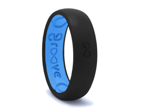 Narrow Midnight Black Breathable Silicone Ring