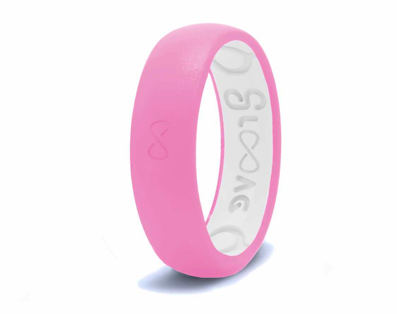 Pretty Pink Groove Original Narrow Silicone Ring
