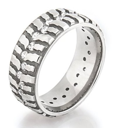 Women's Titanium Mud Bogger Ring with Cubic Zirconia