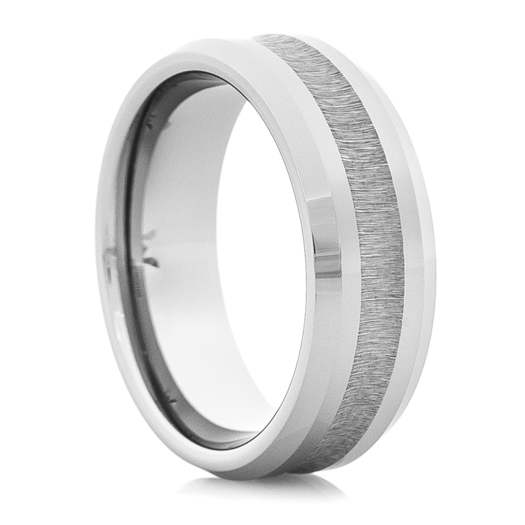 Men's Tungsten Wedding Ring with Grooved Stone Finish Center