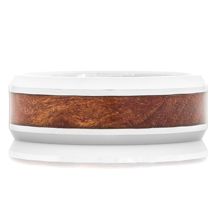 Men's Tungsten Carbide Ring with Burl Wood Inlay