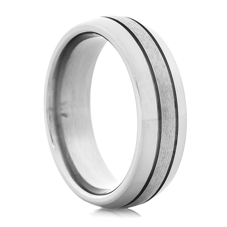 Men's Dome Titanium Ring with Narrow Grooves