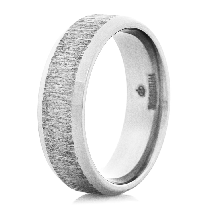 Dome Profile Titanium Ring with Treebark Textured Inlay