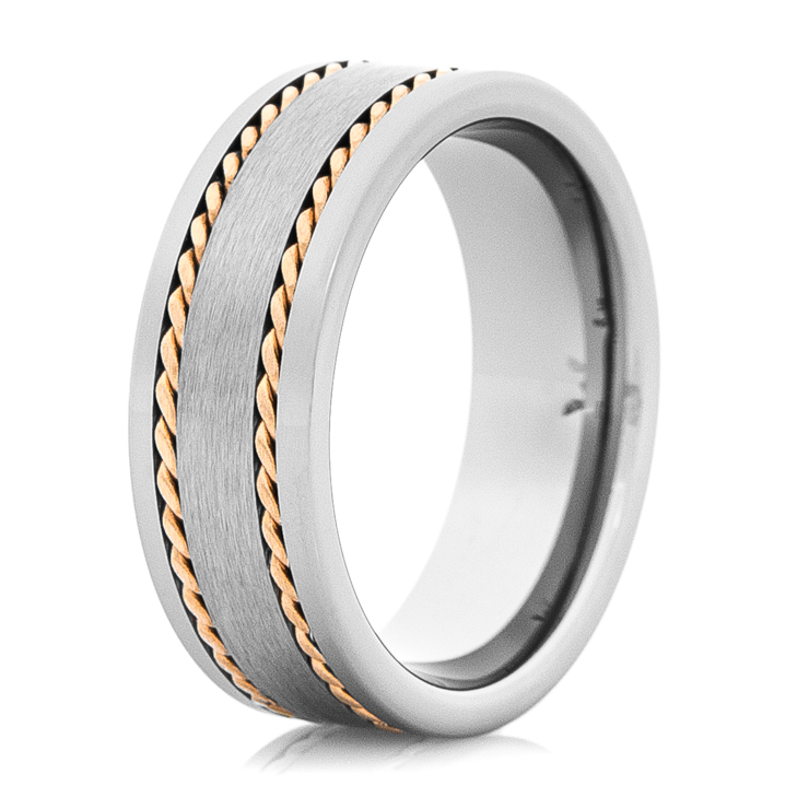 Men's Tungsten Wedding Band with Dual 14K Rose Gold Braids