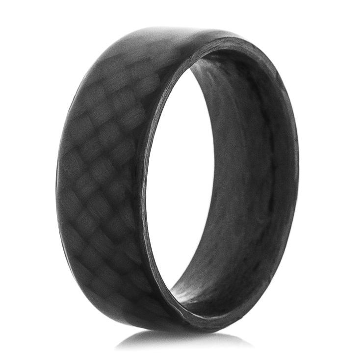 Men's Polished Finish Black Carbon Fiber Ring