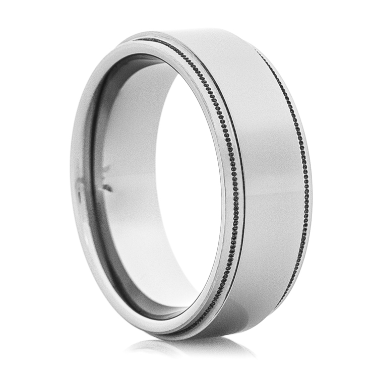 Men's Tungsten Ring with Milled Edges