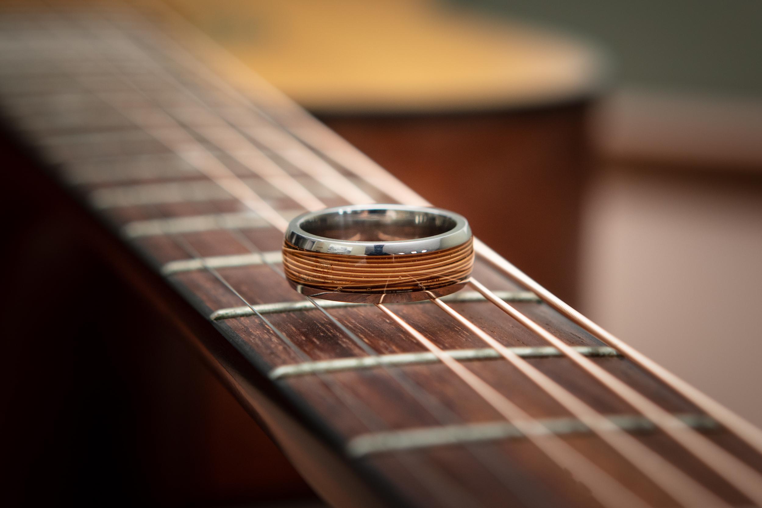 Men's Titanium Guitar String Ring