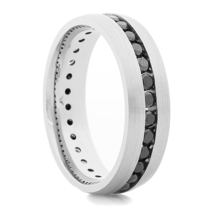 Women's Cobalt Eternity Ring with Black Diamonds