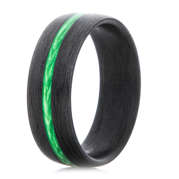 Carbon Fiber Ring with Electric Green Stripe