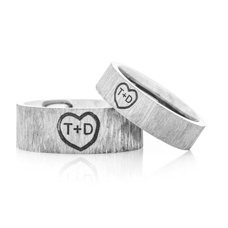 Matching Titanium Carved Heart Tree Bark Rings