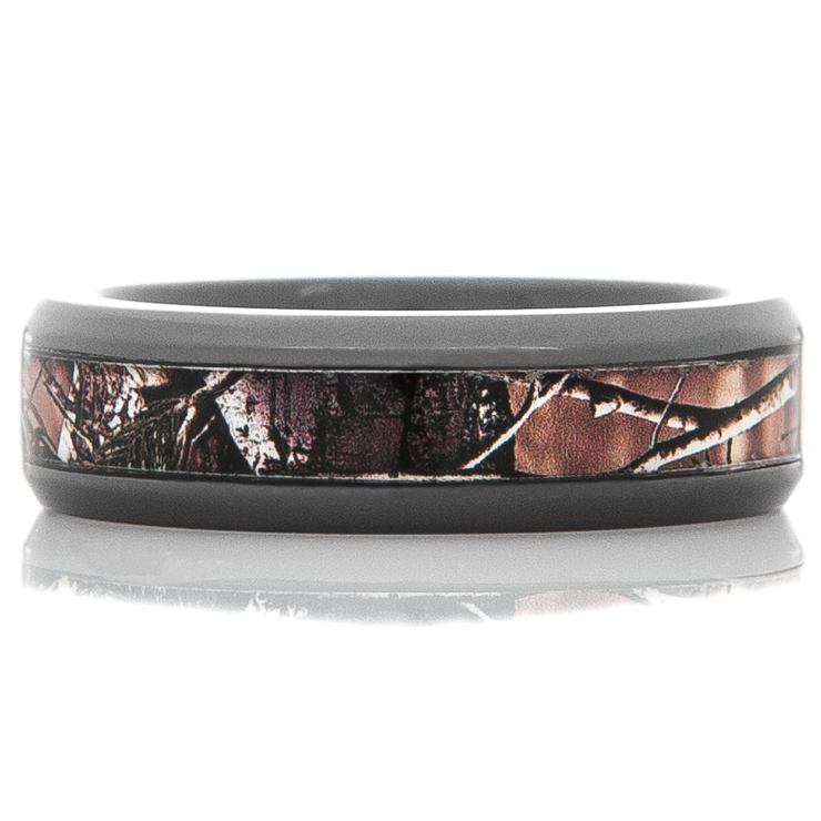 Men's Beveled Edge Black Zirconium Camo Ring