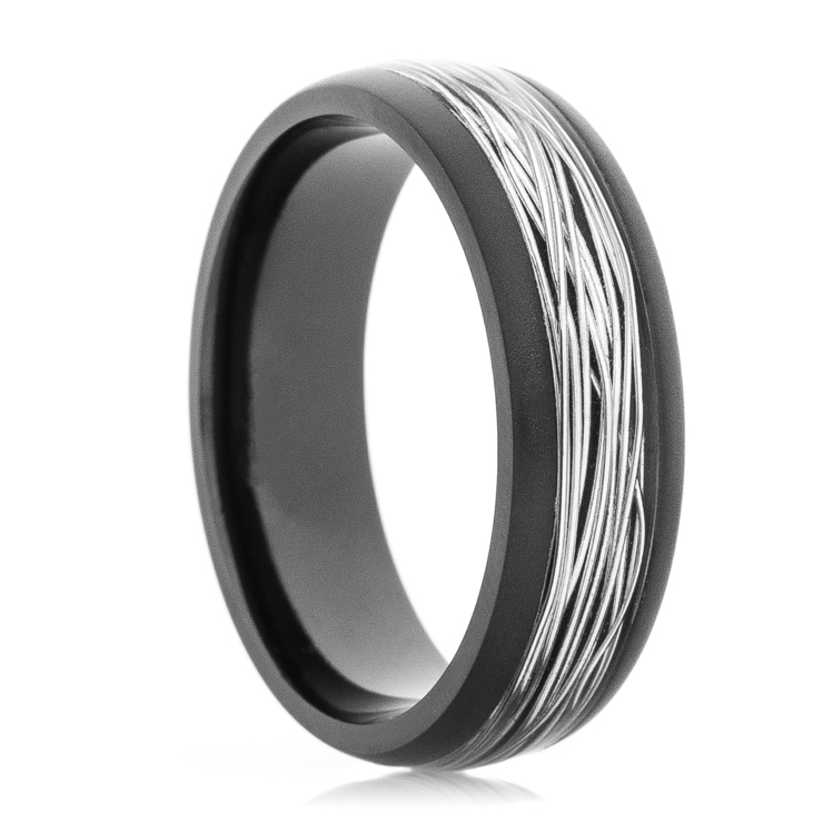 Men's Black Zirconium Ring with Silver Fishing Wire Inlay