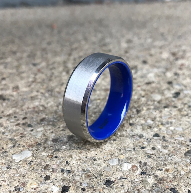 Men's Brushed Tungsten Ring with Flat Beveled Edges and Vibrant Blue Ceramic
