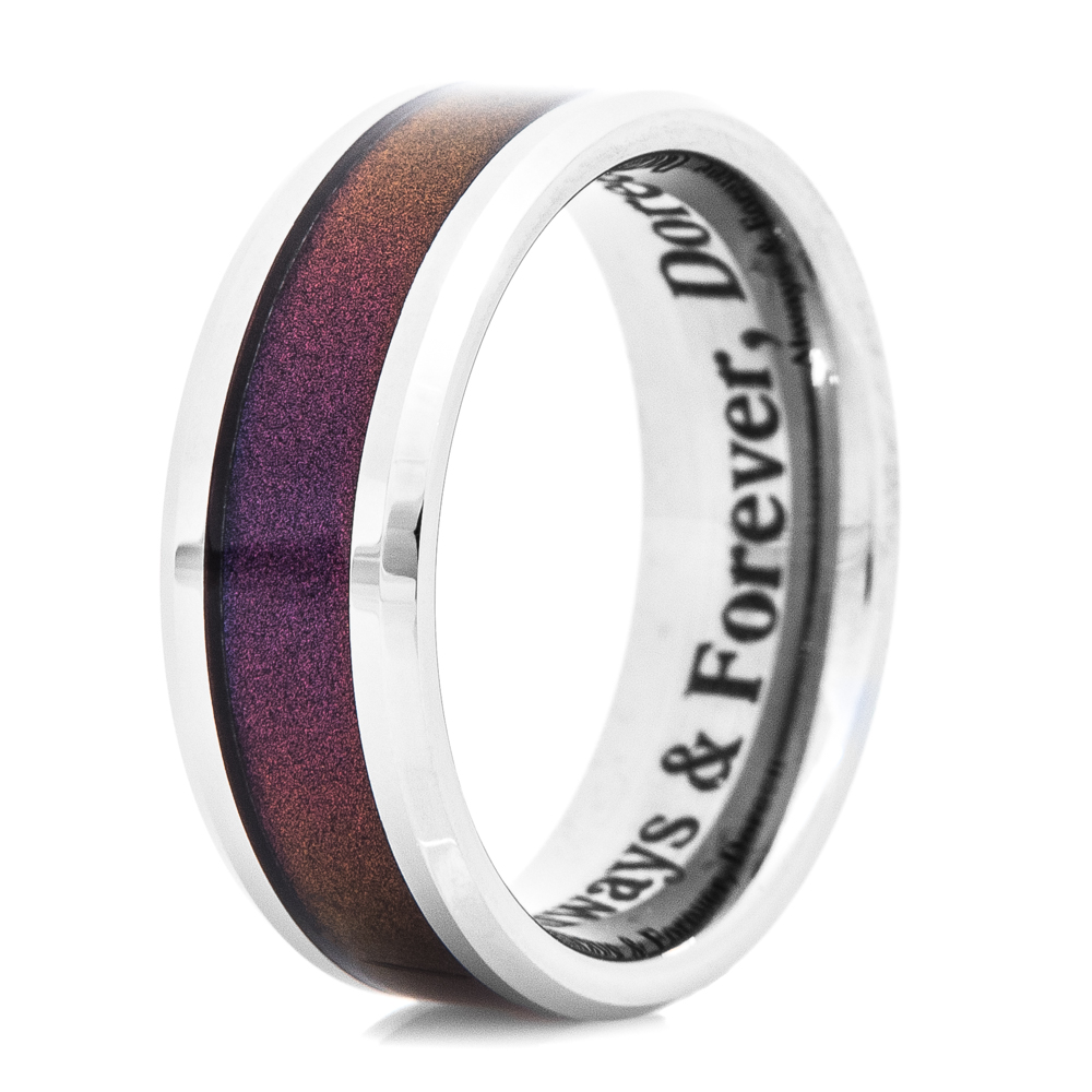 Men's Tungsten Carbide Ring with Deep Color Inlay