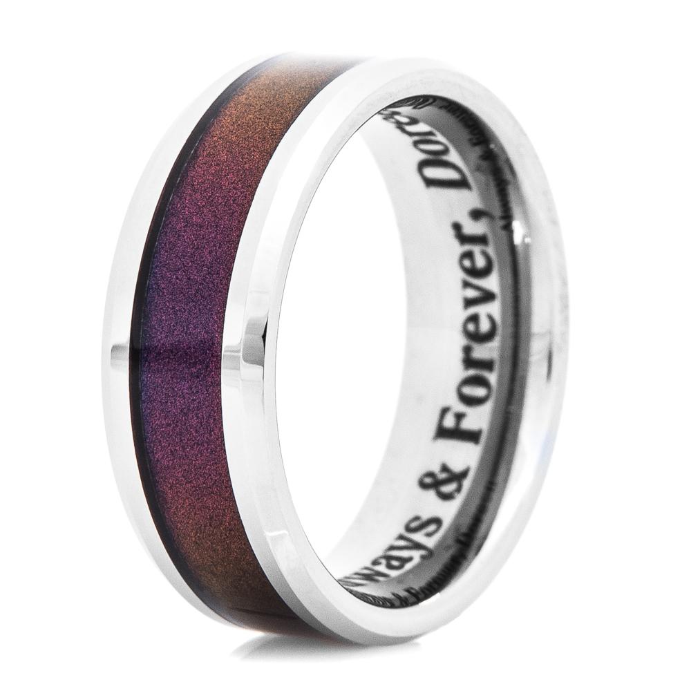 Men's Tungsten Carbide Ring with Deep Color Inlay