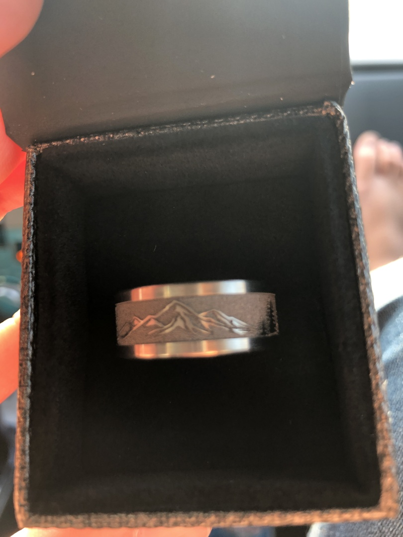 Men's Laser-Carved Titanium Mountain Range Wedding Band