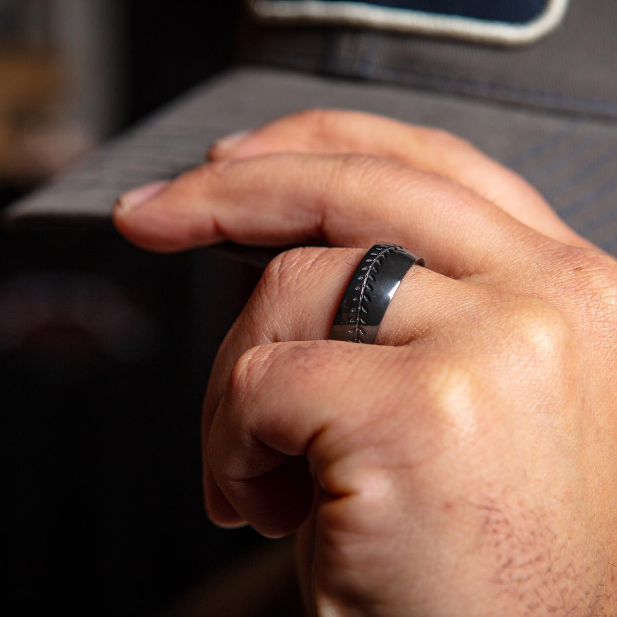 Men's Black Zirconium Baseball Ring with Redheart Hardwood Sleeve