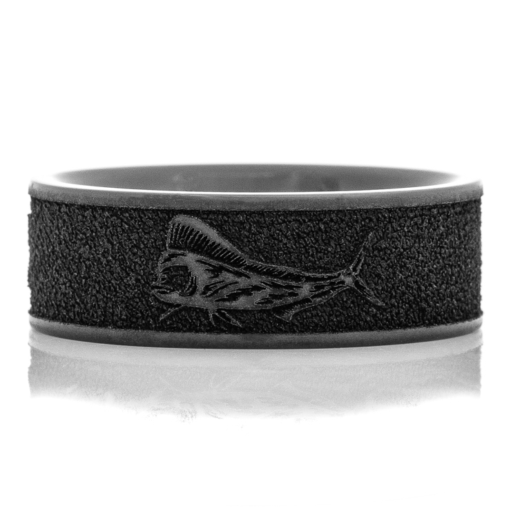 Men's Black Zirconium  Mahi-Mahi Fish Ring