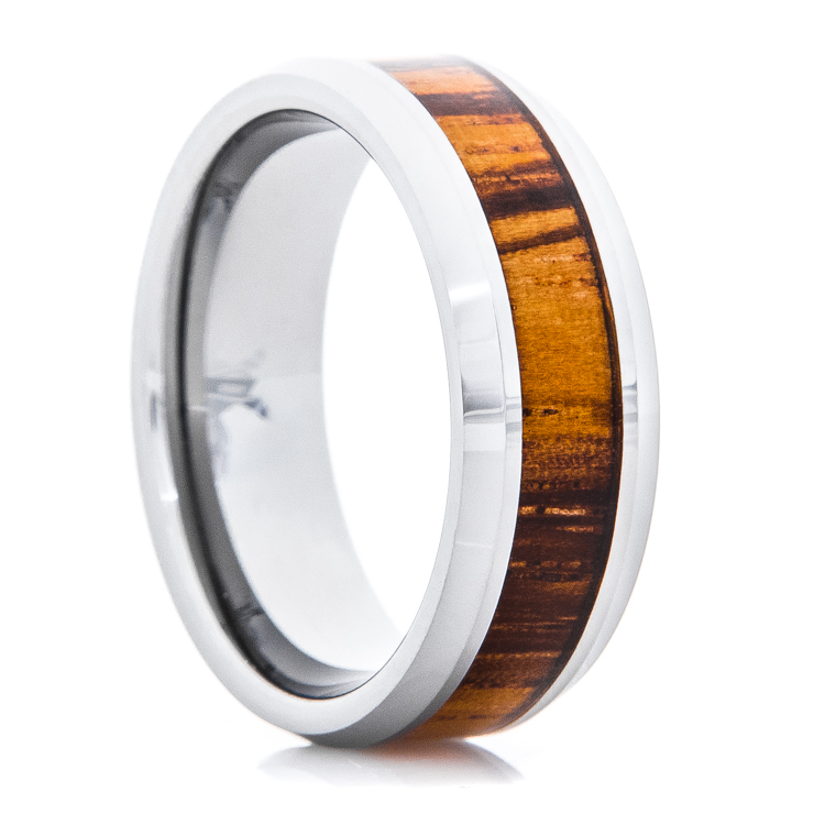 Men's Polished Titanium Ring with Zebra Wood Inlay and Beveled Edge