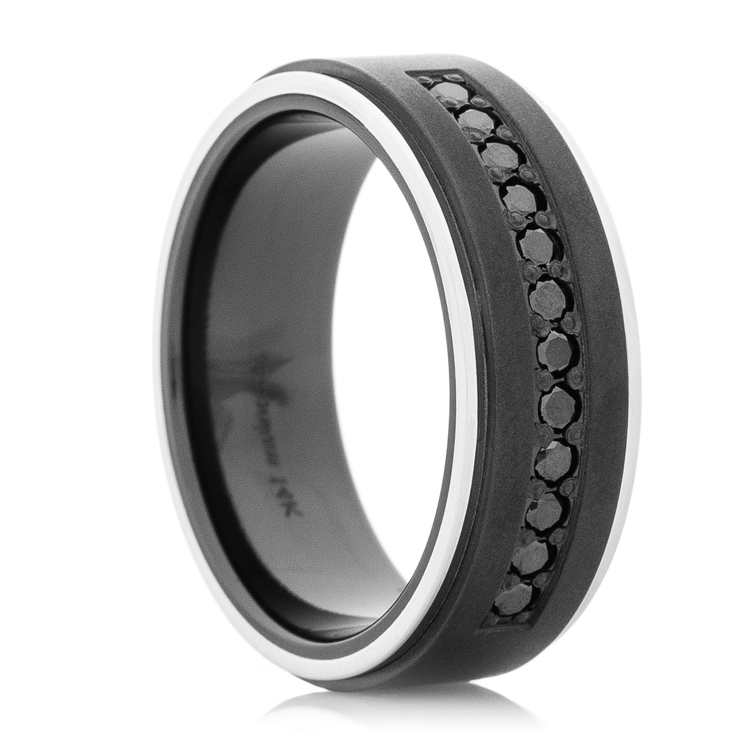 Mens Black Zirconium Ring With Dozen Black Diamonds And 14k White