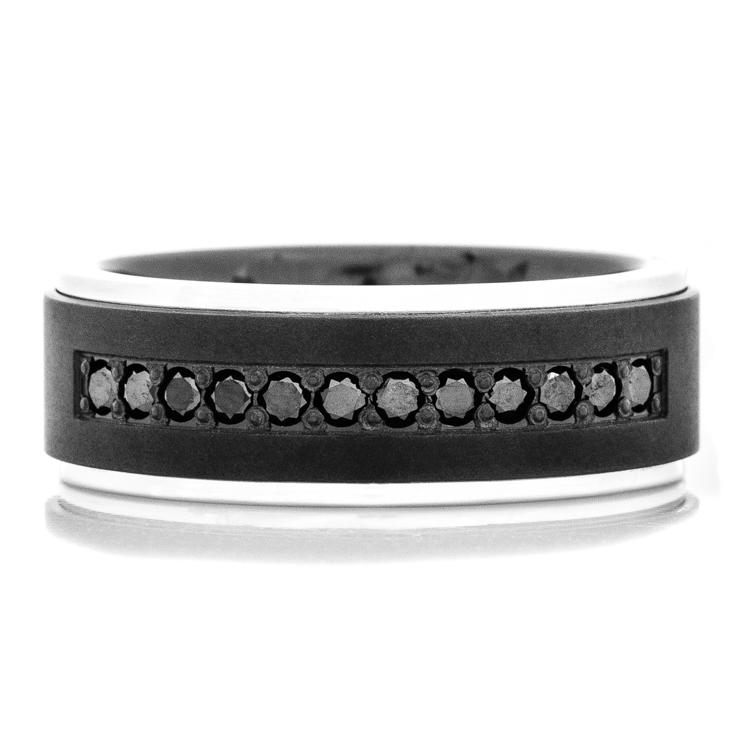 Men's Black Zirconium Ring with Dozen Black Diamonds and 14k White Gold Flat Grooved Edges