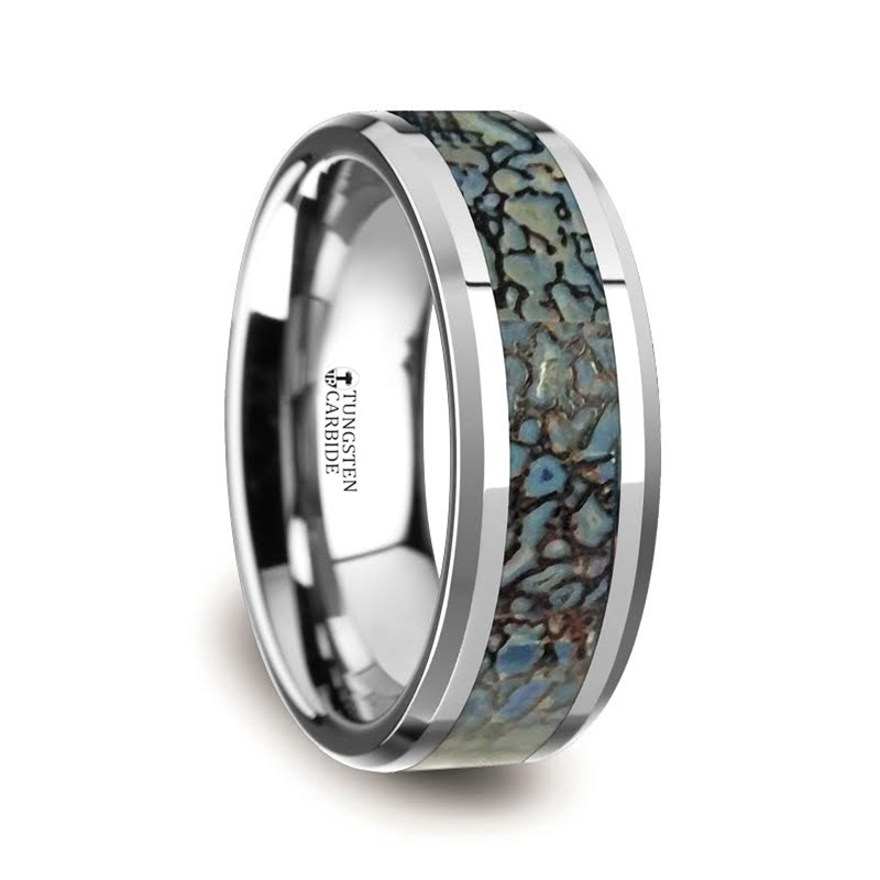 Blue Dinosaur Bone Inlaid Tungsten Carbide Ring with Beveled Edges