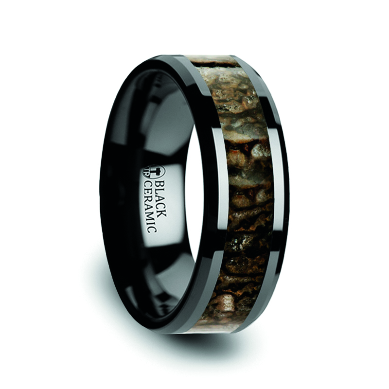 Dinosaur Bone Inlaid Black Ceramic Ring with Beveled Edges