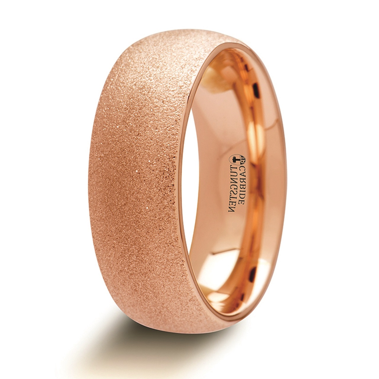Men's Domed Tungsten Carbide Ring with Rose Gold Plating and Sandblasted Crystalline Finish