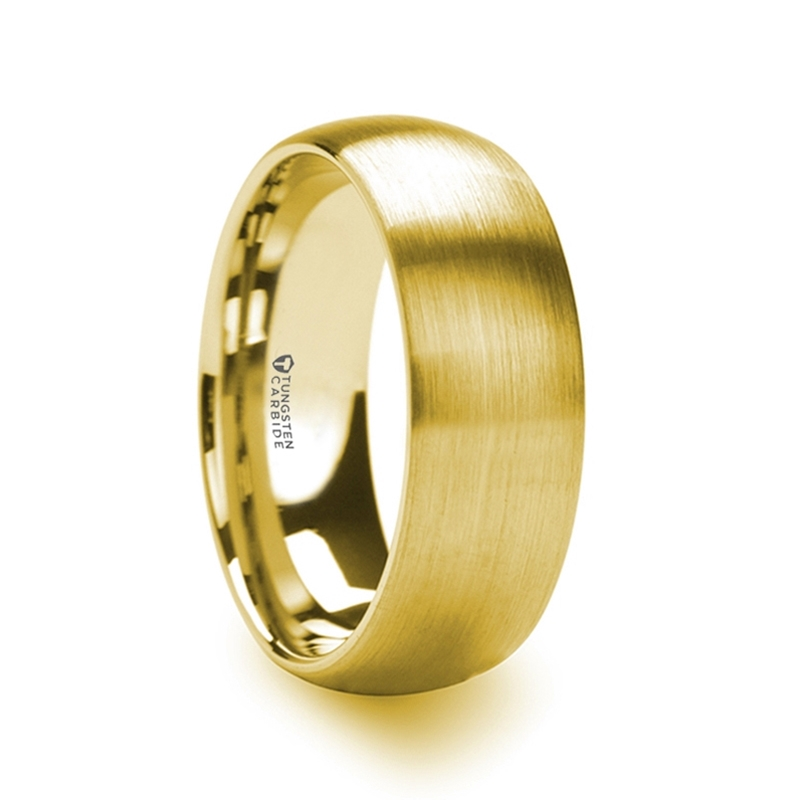 Men's Domed Gold Plated Tungsten Ring with Brushed Finish