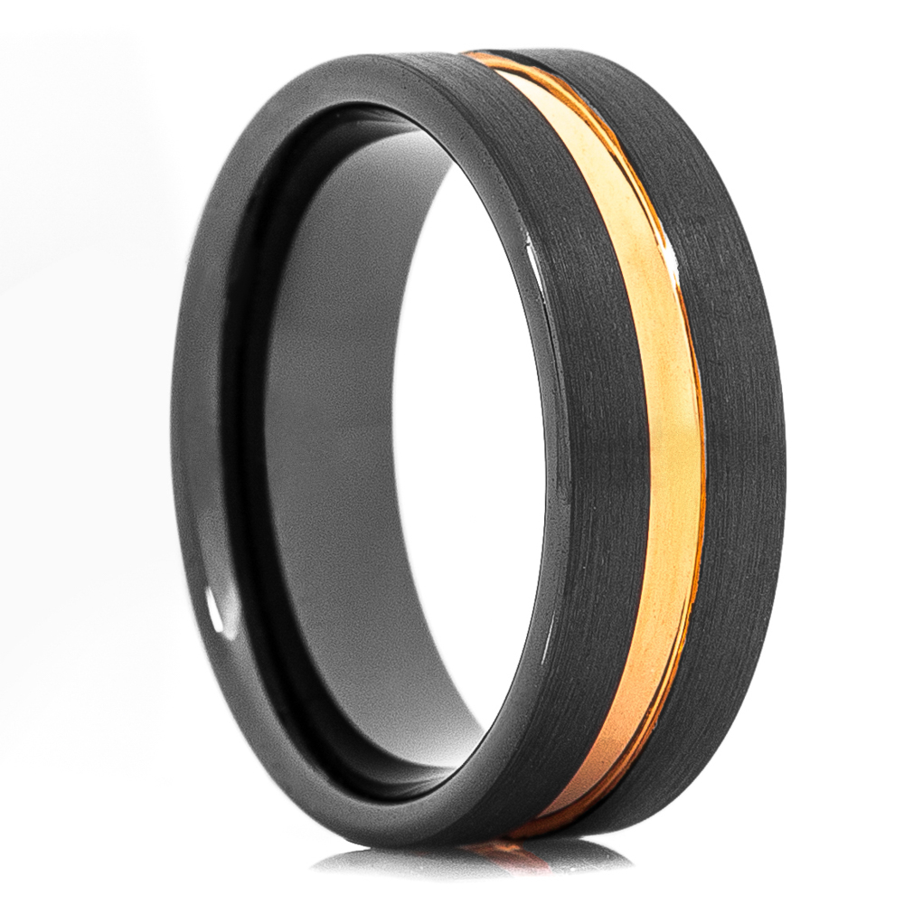 Men's Black Ceramic Wedding Band With Rose Gold Groove