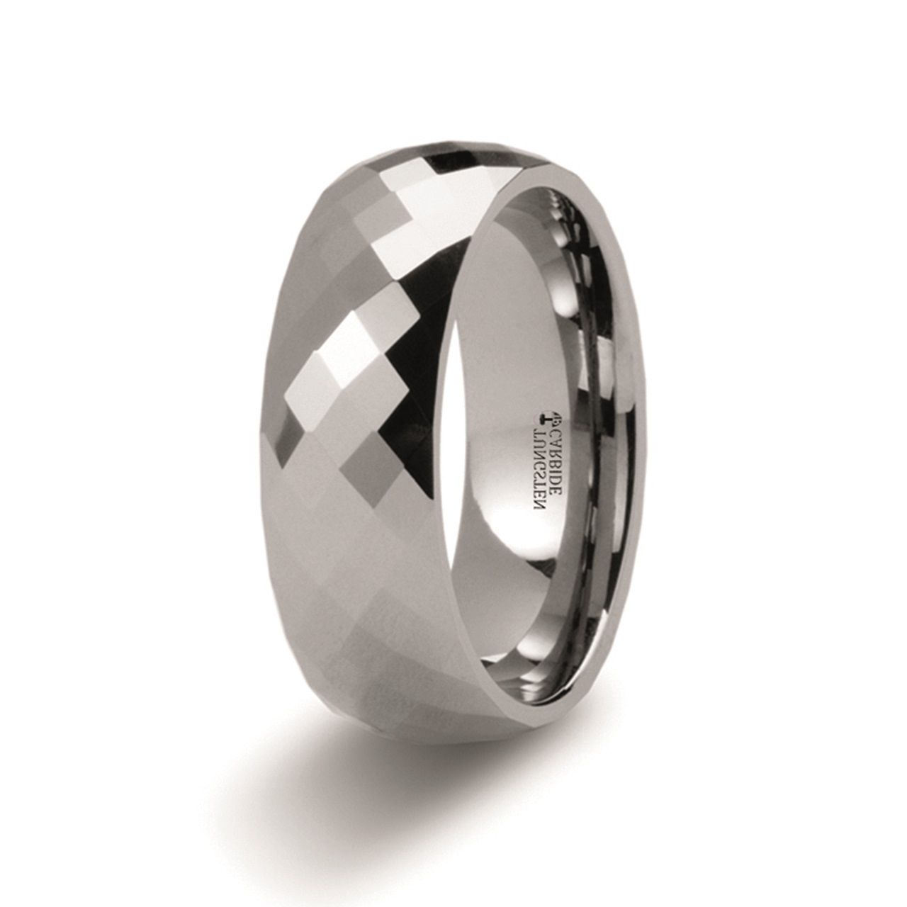 Men's Tungsten Carbide Ring with Diamond Faceted Band