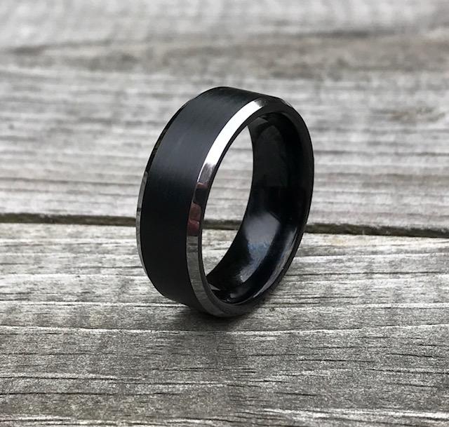 Men's Black Brushed Center Tungsten Carbide Ring with Polished Beveled Edges