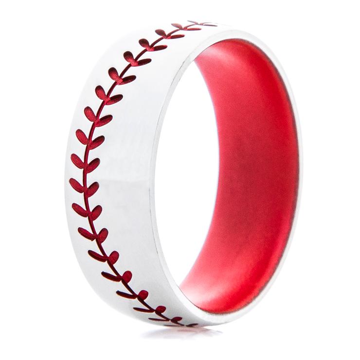 Red Baseball stitch ring with Cerakote Sleeve