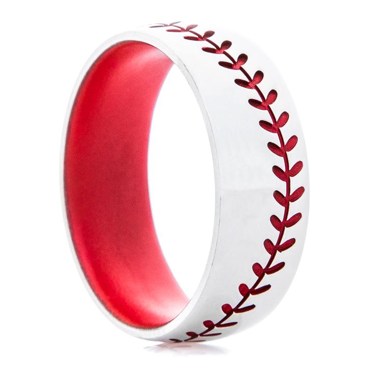 Titanium Baseball Stitch Ring with Matching Stitching and Interior