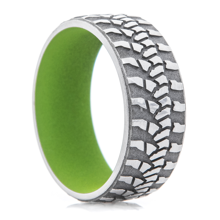 Men's Titanium Goodyear Wrangler Tire Tread Ring with Zombie Green Interior