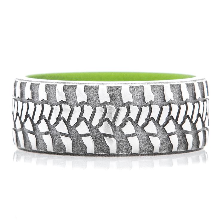 Men's Titanium Goodyear Wrangler Tire Tread Ring with Zombie Green Interior