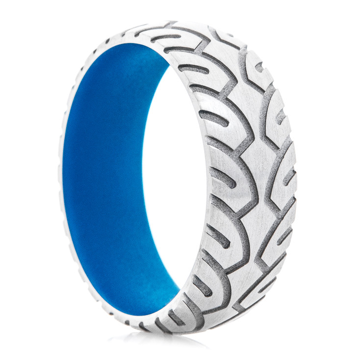 Men's Titanium Motorcycle Ring with Sky Blue Interior