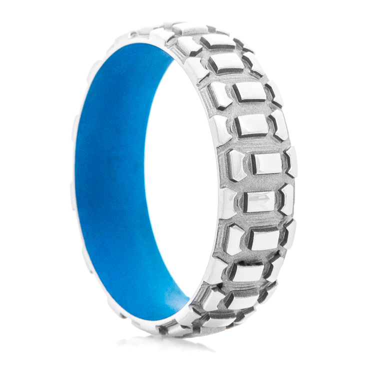 Men's Titanium Dirt Bike Ring with Ridgeway Blue Interior