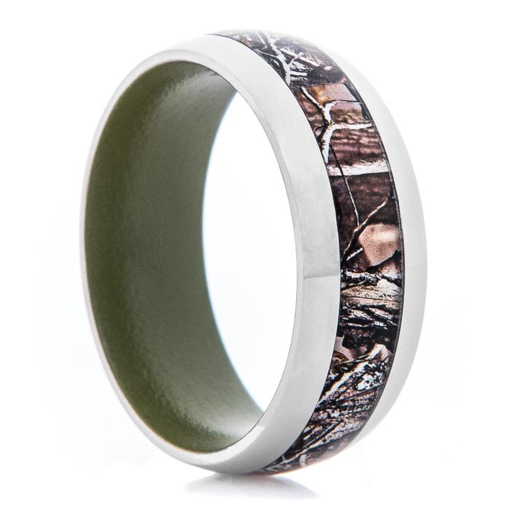 Men's Titanium Realtree® AP Camo Ring with Bazooka Green Interior