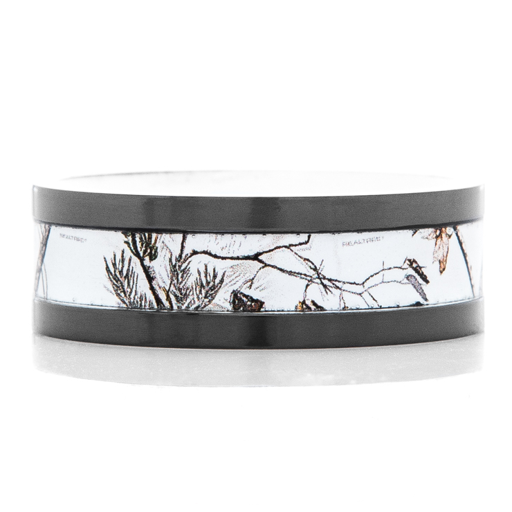 Men's Black Zirconium Realtree®AP Snow Camo Ring with White Interior