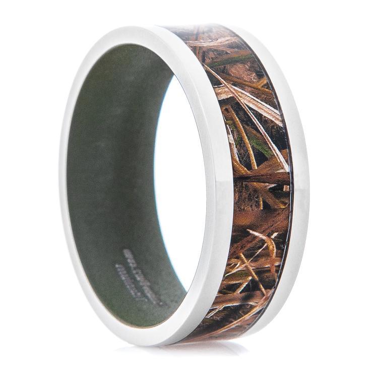Men's Mossy Oak Blades Camo Ring with Sniper Green Interior