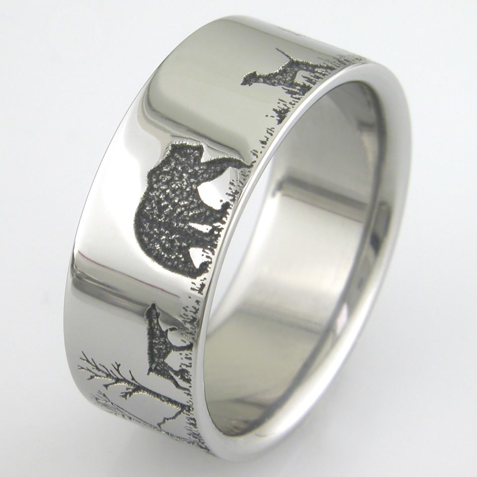 Men's Titanium Bear Hunting Ring