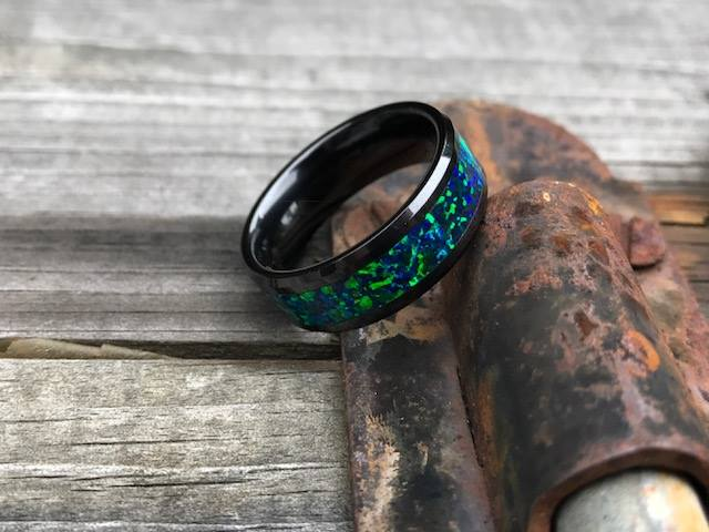 Black Ceramic Beveled Edge & Emerald Green/Blue Opal Inlay Wedding Ring
