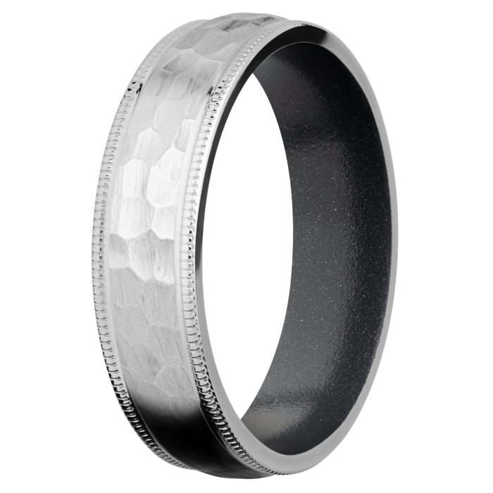 Customizable Titanium Milled and Hammered Ring