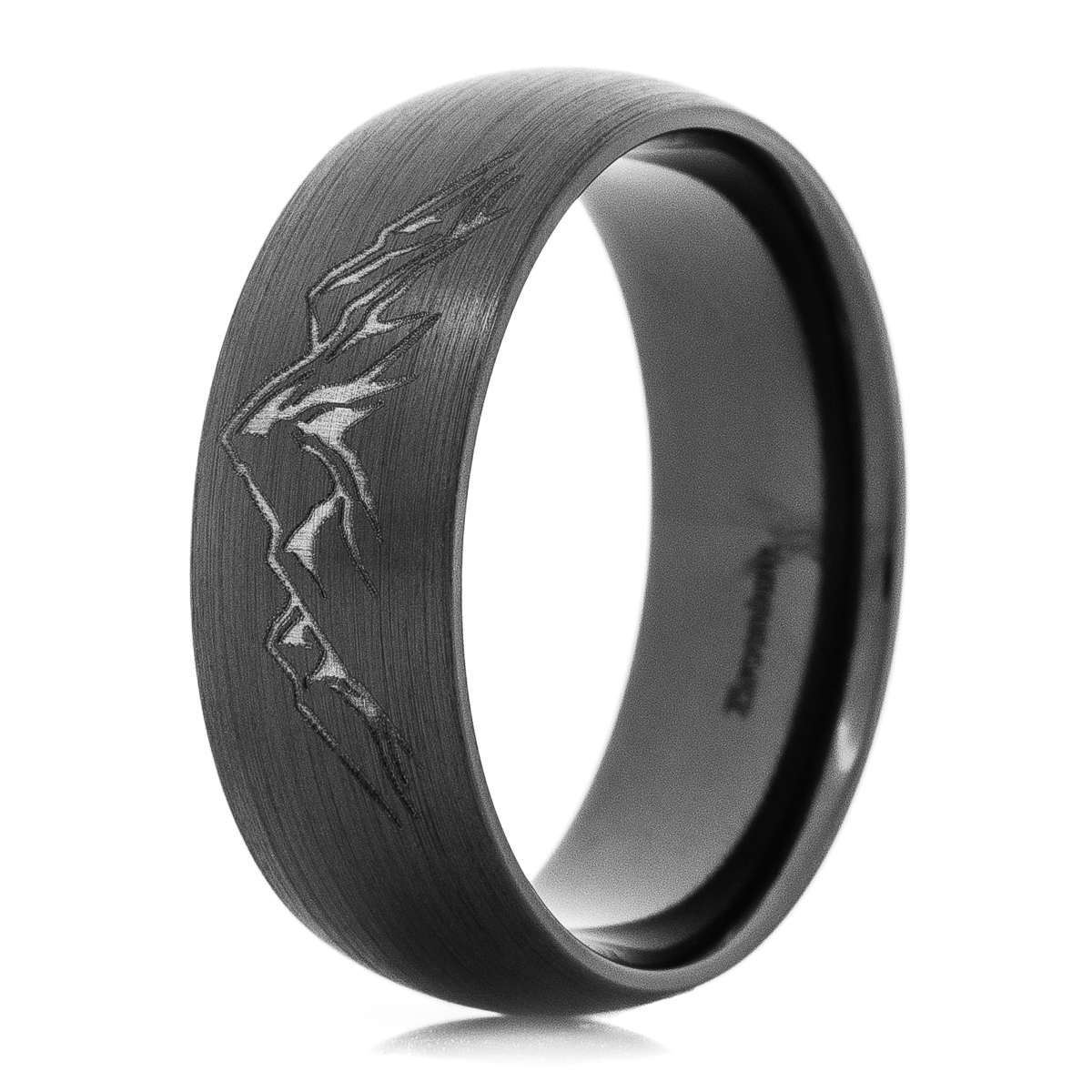 Men's Black Zirconium Laser Carved Mountain Ring