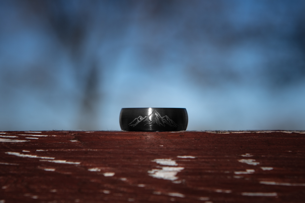 Men's Black Zirconium Laser Carved Mountain Ring