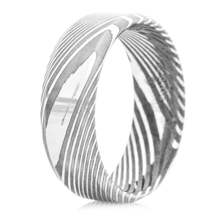 Men's Dual Finish Damascus Steel Ring