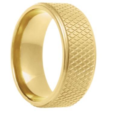 Men's 14k Yellow Gold Hockey Puck Ring